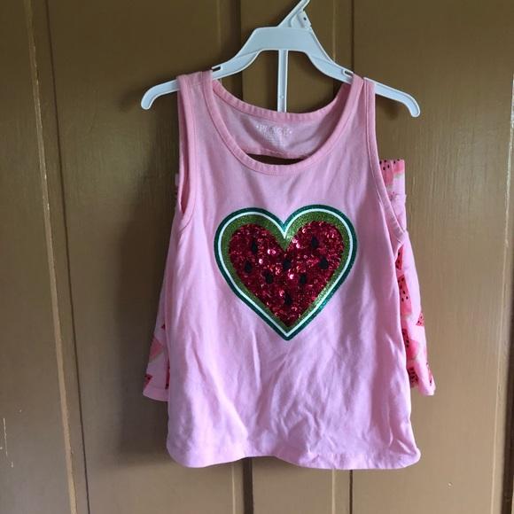 Little girl watermelon T-shirt & skort